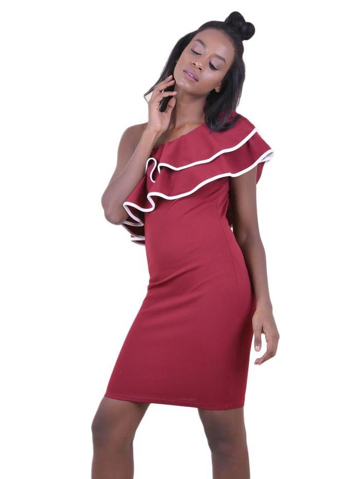 07a0b1ef9f53 DeCoro F1842 Φόρεμα με Βολάν   Έναν Ώμο - ΜΠΟΡΝΤΟ - 10 - Glami.gr