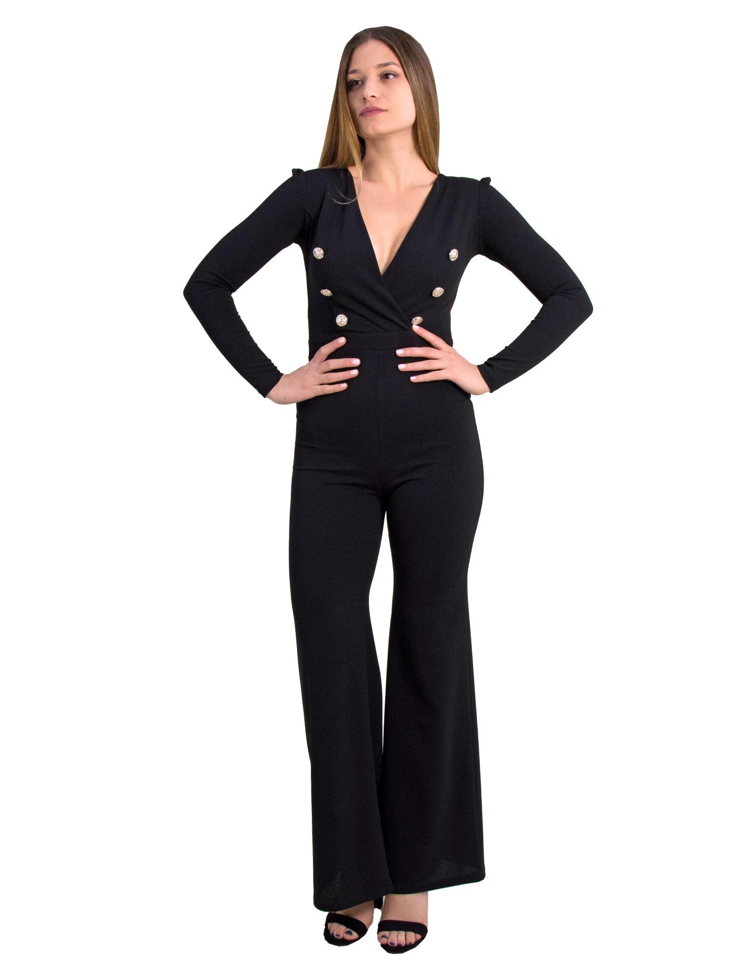 874294681b76 Γυναικεία ολόσωμη κρουαζέ φόρμα Cocktail μαύρη κουμπιά 014009000 ...
