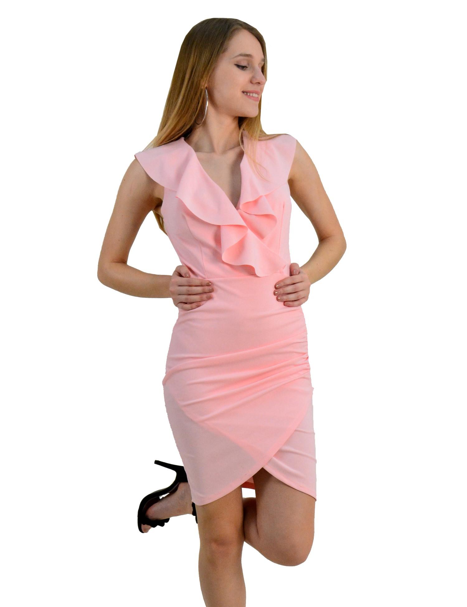 91dcdbc16b9c Outlet Γυναικείο αμάνικο φόρεμα ντραπέ με βολάν ροζ 20078R - Glami.gr