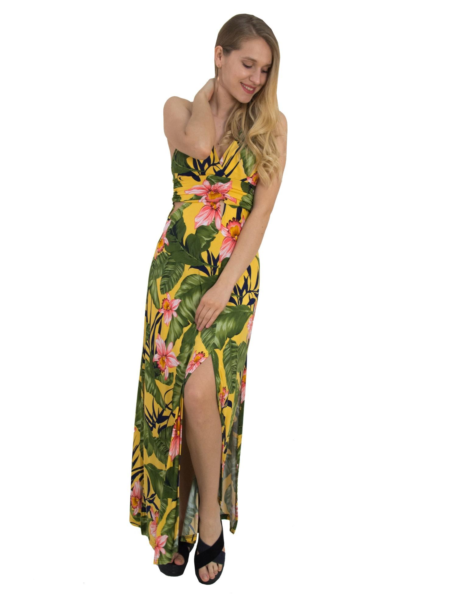 Γυναικείο μάξι φλοράλ φόρεμα Coocu κίτρινο χιαστί πλάτη 92391C ... 747628dc48f