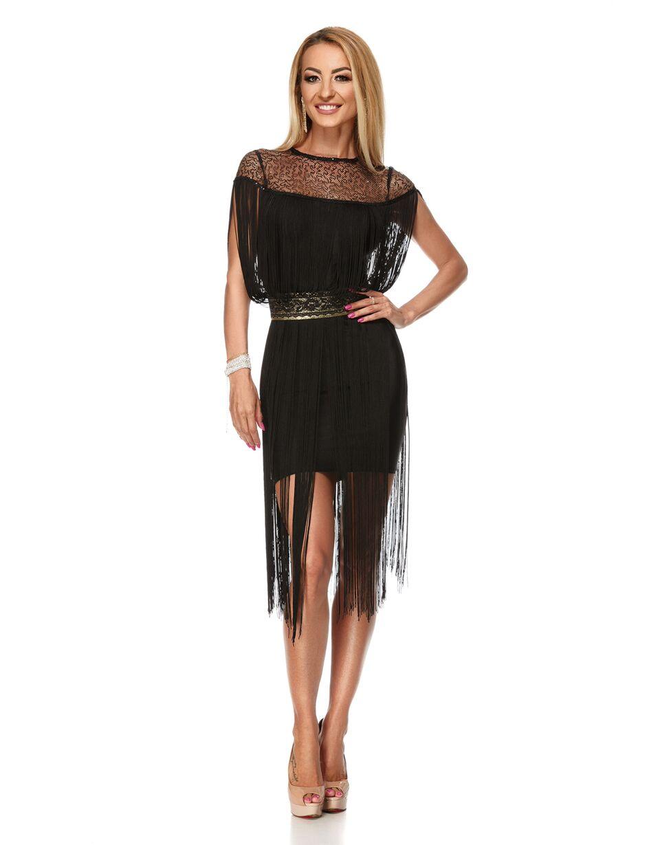 RO FASHION 9186 RO Μίντι φόρεμα με κρόσια και χρυσή ζώνη - μαύρο ... febe68a66f8