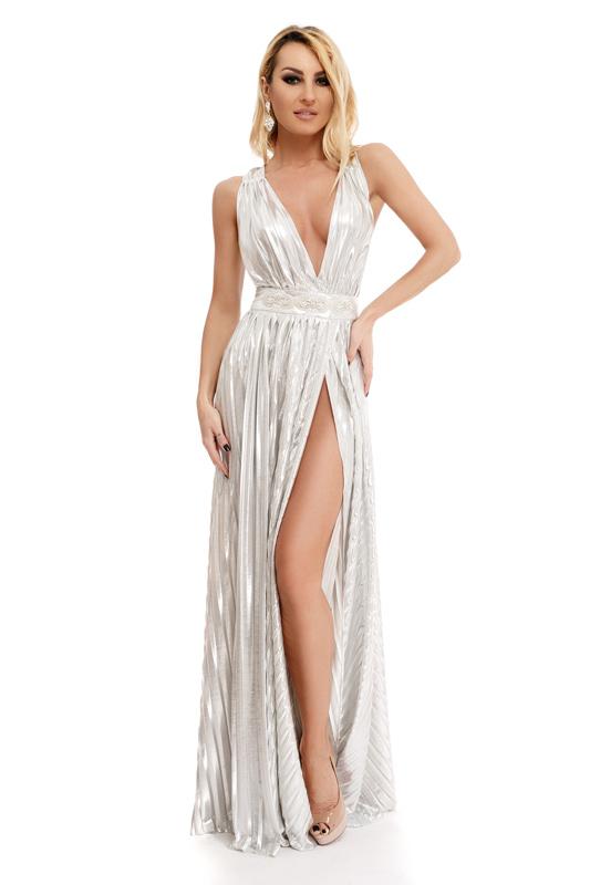 f8bfc1ec9d95 RO FASHION 9245 RO Σέξυ μάξι φόρεμα με βαθύ ντεκολτέ και έντονο σκίσιμο -  Ασημί