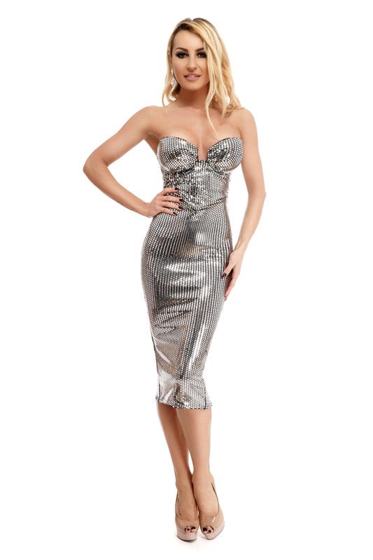 RO FASHION 9246 RO Μίντι φόρεμα με παγιέτες τύπου καθρέφτη - Ασημί ... 024138dcff3