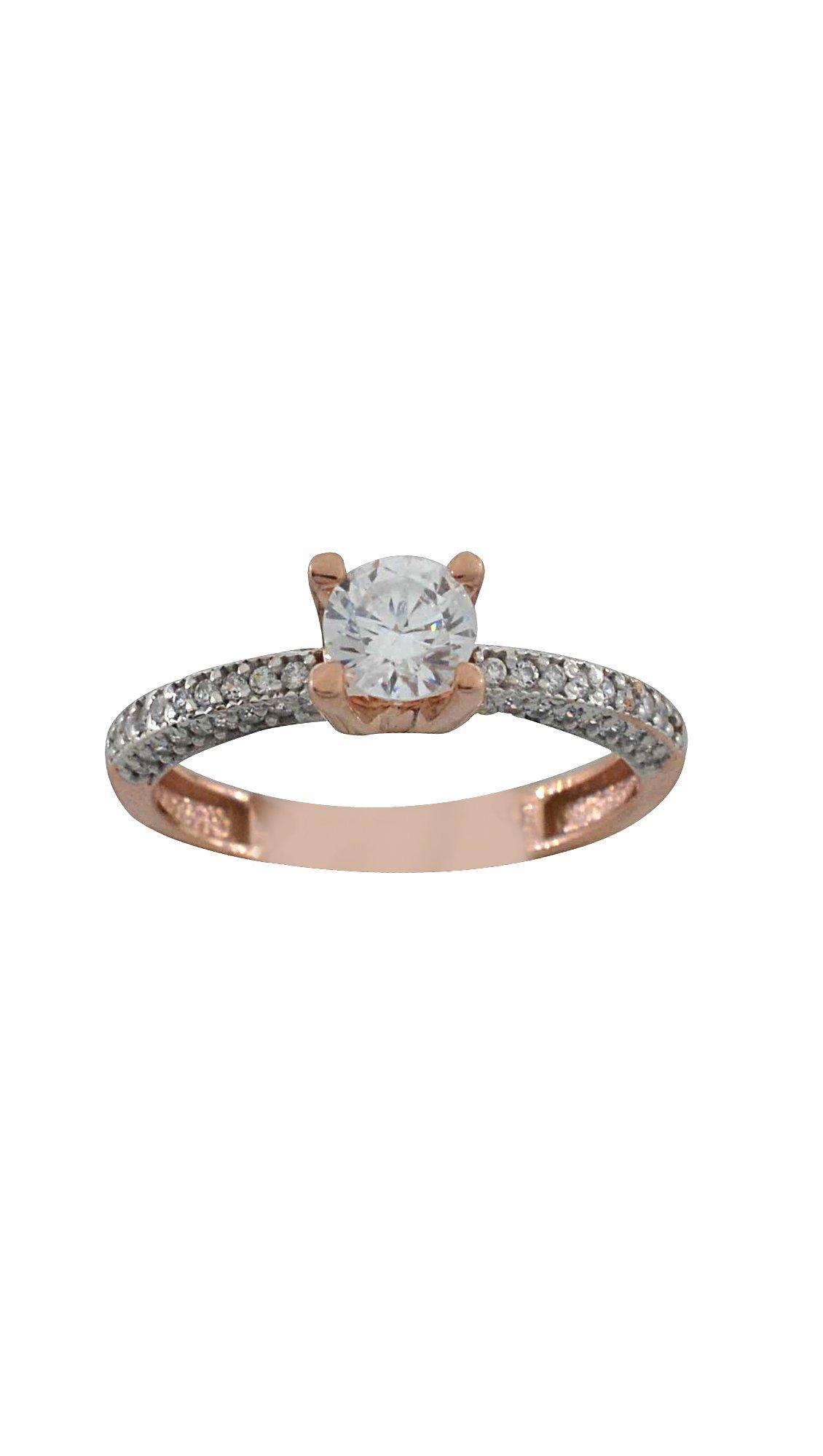 Filva Δαχτυλίδι μονόπετρο ροζ χρυσό 14 καράτια με ζιργκόν swarovski ... 004db2f2b3f