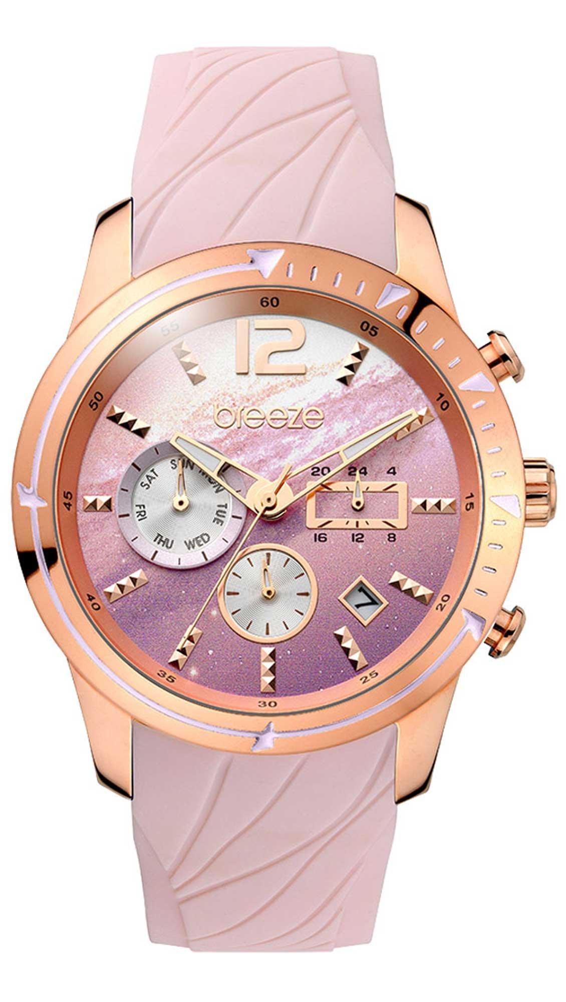 970217310e Ρολόι BREEZE Selena πολλαπλών ενδείξεων με ροζ λουράκι 110781.1 ...