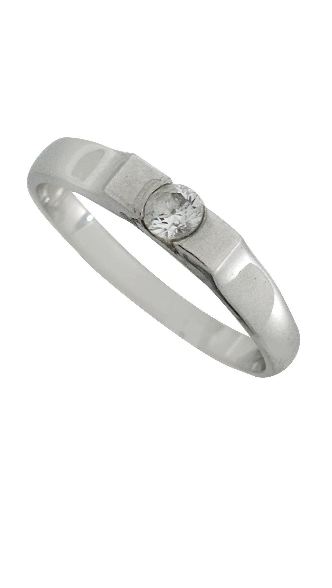 Mertzios.gr Δαχτυλίδι μονόπετρο λευκόχρυσο 14 καράτια με ζιργκόν ... 5bc9a385b4e