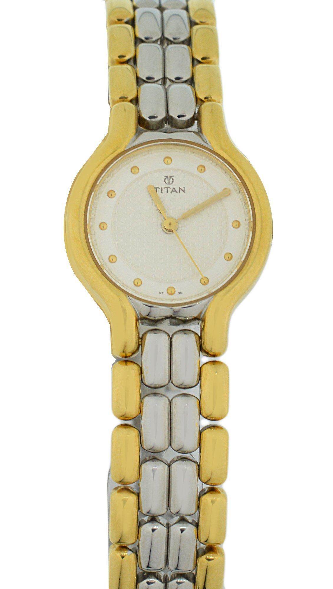 Mertzios.gr Γυναικείο ρολόι TITAN με ασημί-χρυσό μπρασελέ και λευκό καντράν 7fdd27bd796