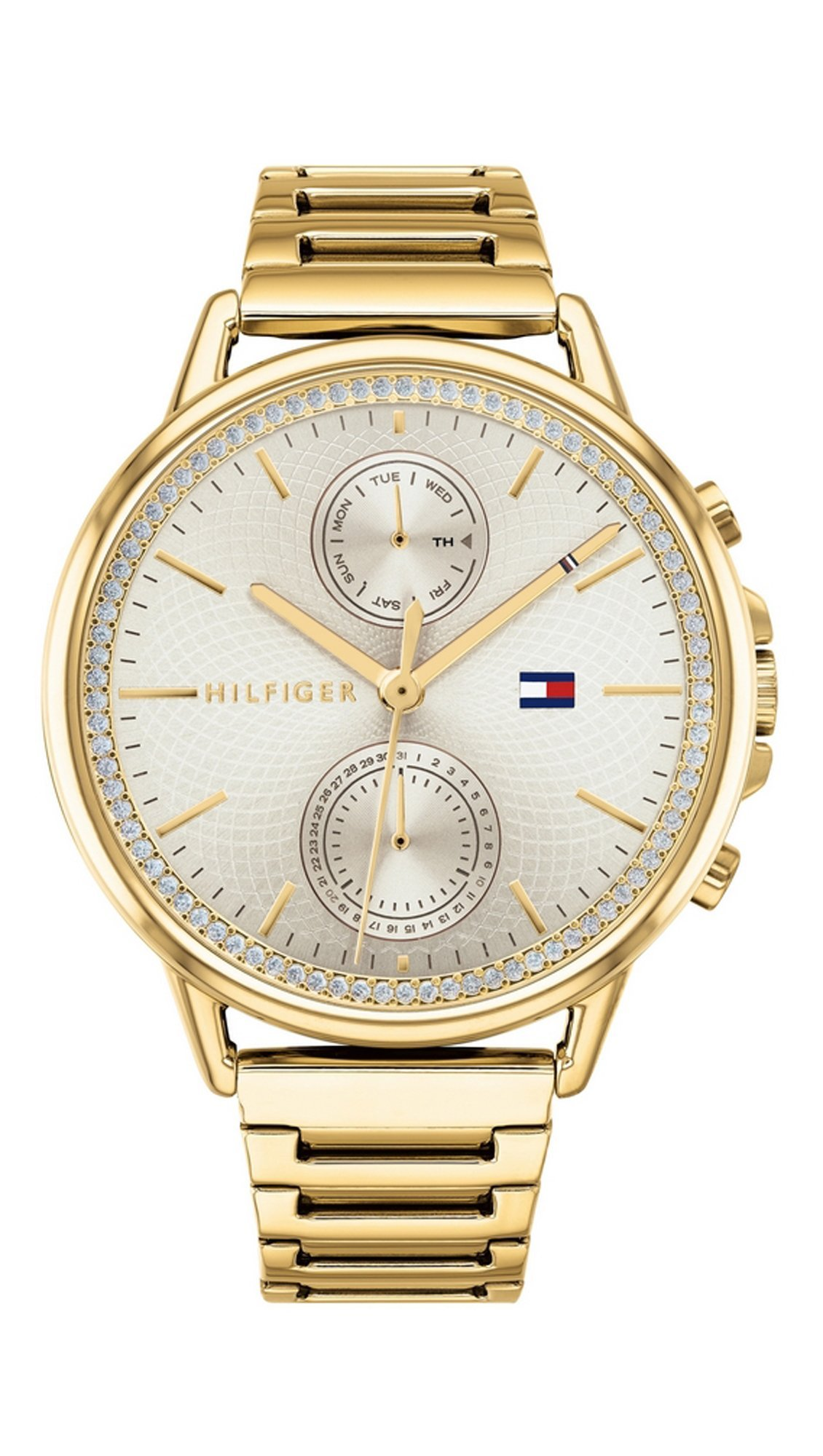Ρολόι Tommy Hilfiger Carly πολλαπλών ενδείξεων με χρυσό μπρασελέ 1781916 02283e55c82