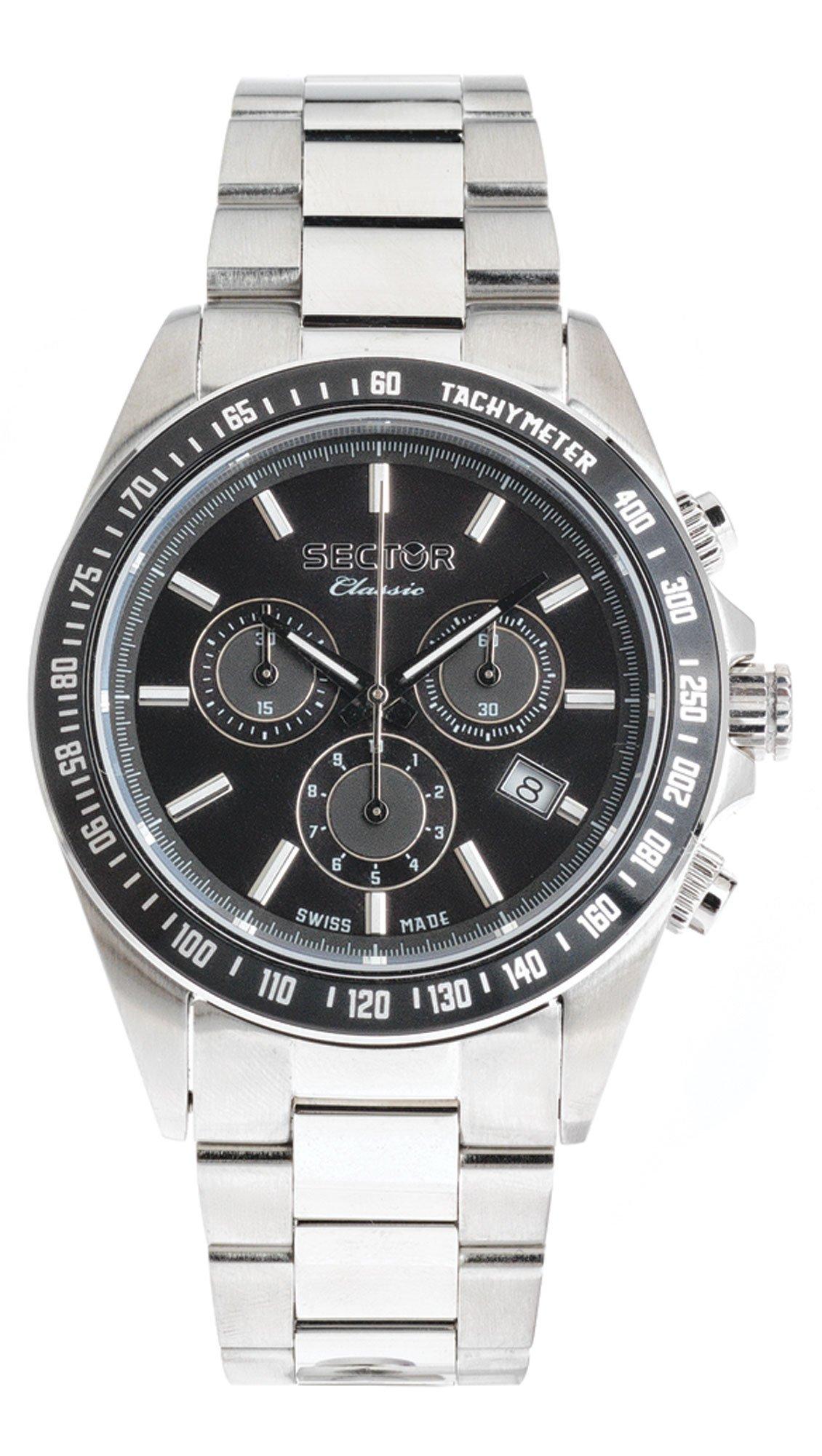 Ρολόι Sector Classic χρονογράφος με ασημί μπρασελέ R3273785005 ... 922d3d0f7d6
