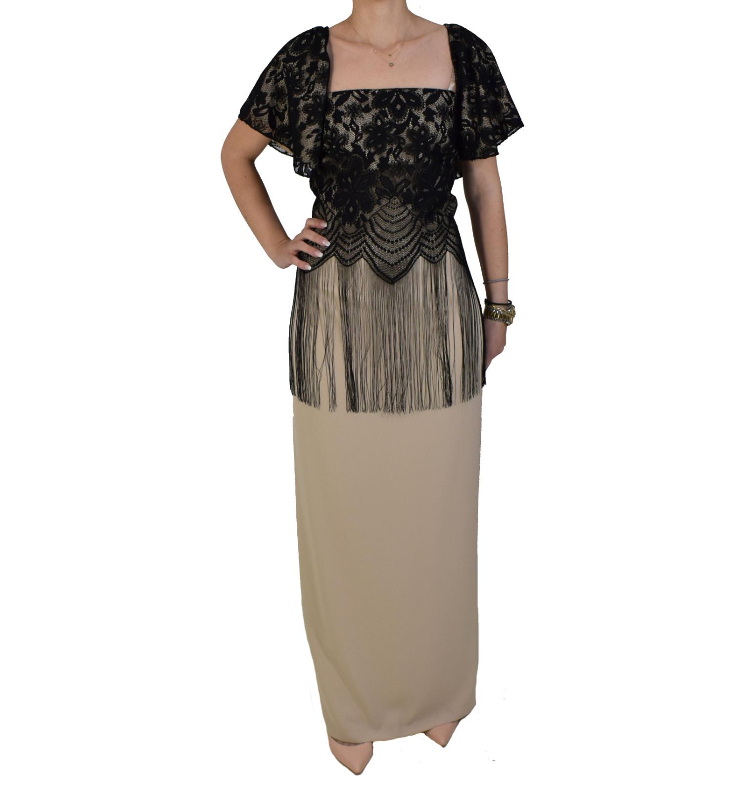 20cd20172336 Φόρεμα Maxi Με Δαντέλα Forel 505012 Μπεζ Μαύρο forel 505012 mpez ...
