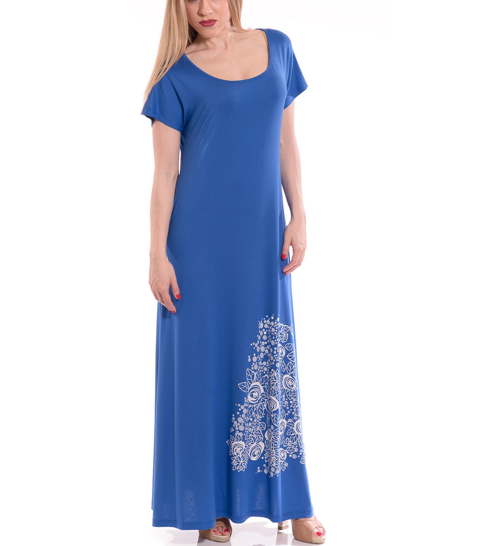 95621371d7fd RAVE Μπλε ρουα φόρεμα με στάμπα - 48-50 - Glami.gr