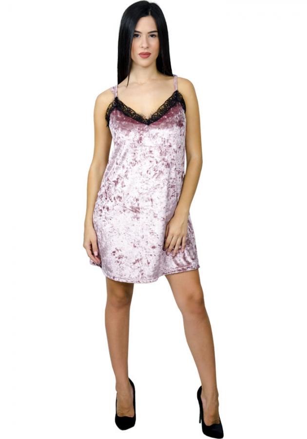7d96bec6e27e Miss Pinky Φόρεμα mini βελούδο ραντάκι - ΡΟΖ 107-1317 - Glami.gr