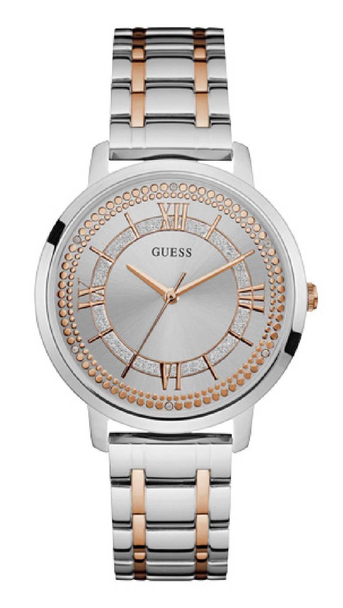 Ρολόι Guess με ασημί ροζ χρυσό μπρασελέ και κρύσταλλα W0933L6 - Glami.gr fdaaf5faf9a
