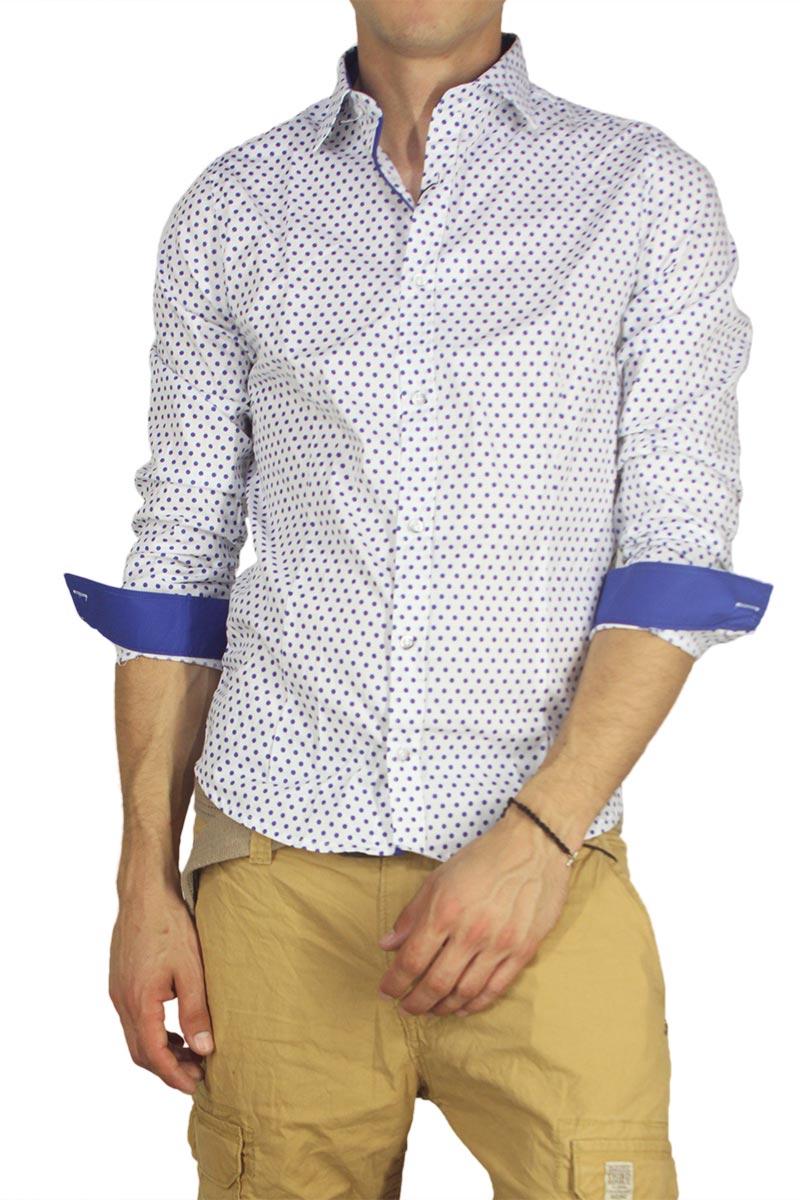 156e2c18a8f4 Best Choice Ανδρικό πουκάμισο λευκό με γαλάζιο πουά - Glami.gr
