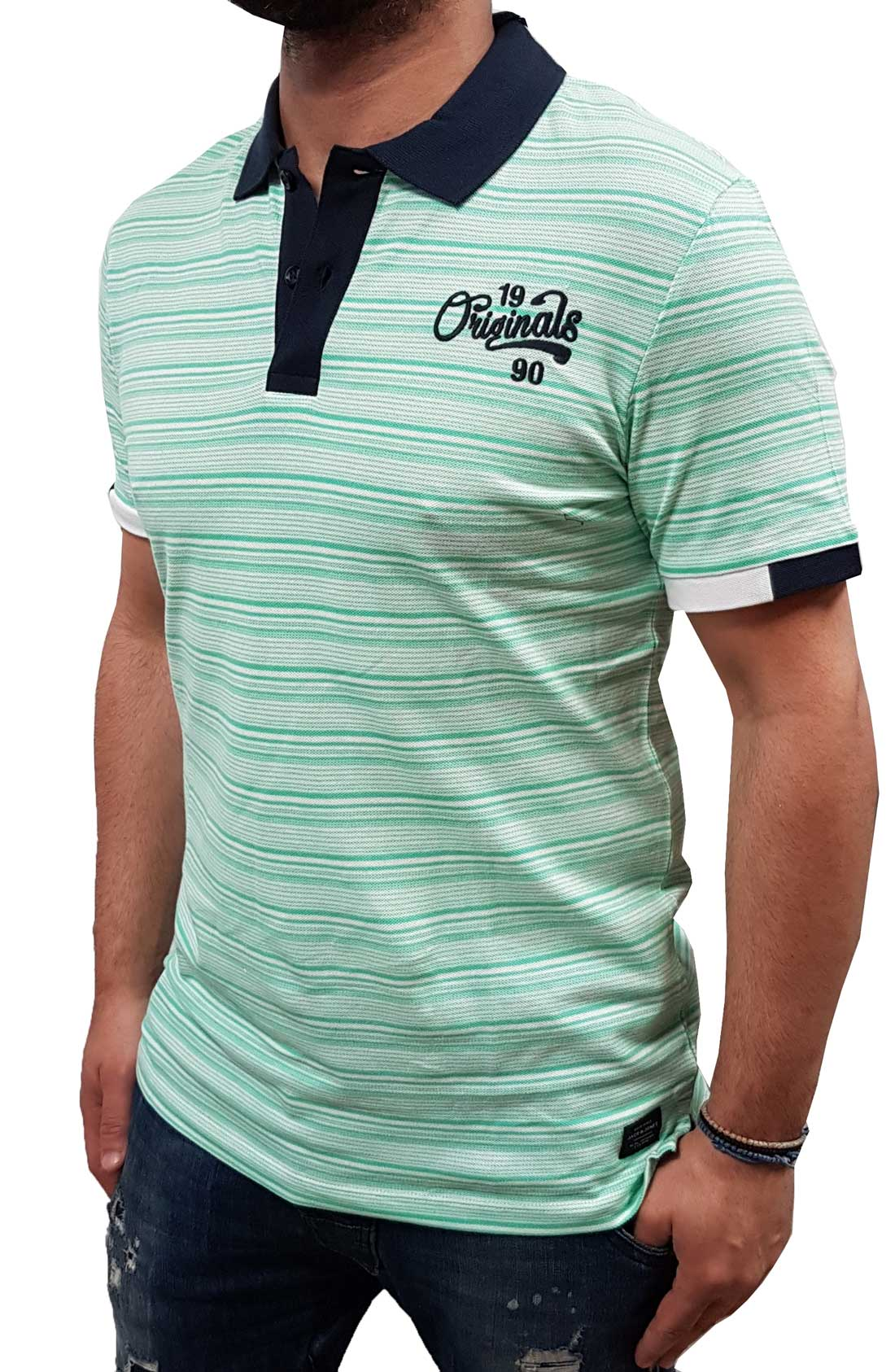 b573fd234d45 Jack Jones - 12139690 - Jorstripe Polo ss - White Stripes -Slim Fit -  Μπλούζα Polo