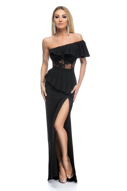 RO FASHION 9260 RO Βραδινό μάξι φόρεμα με βολάν και έναν ώμο - Μαύρο ... d7538e555be