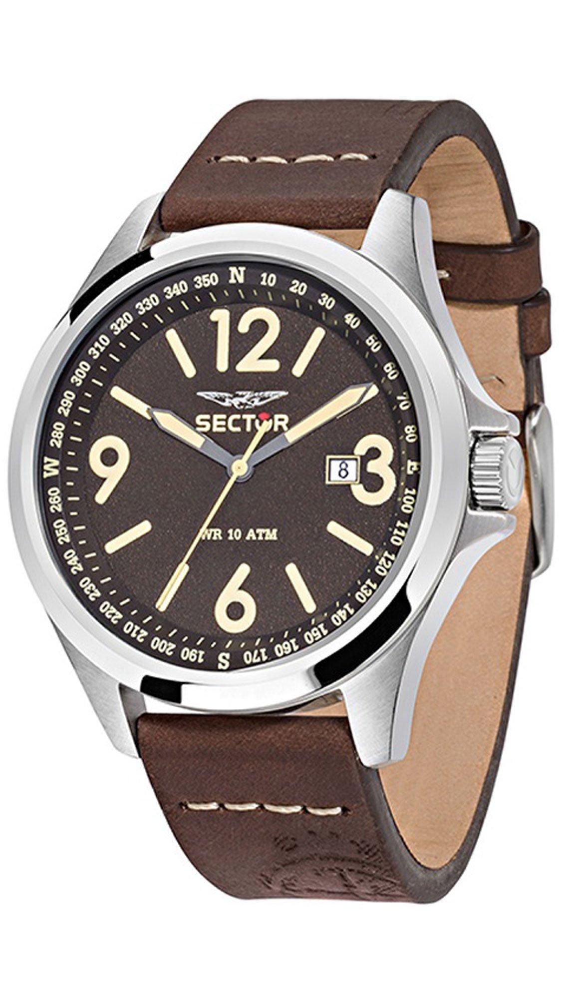 Ρολόι Sector 180 Contemporary με καφέ λουράκι και ημερομηνία R3251180009 6feac74e514