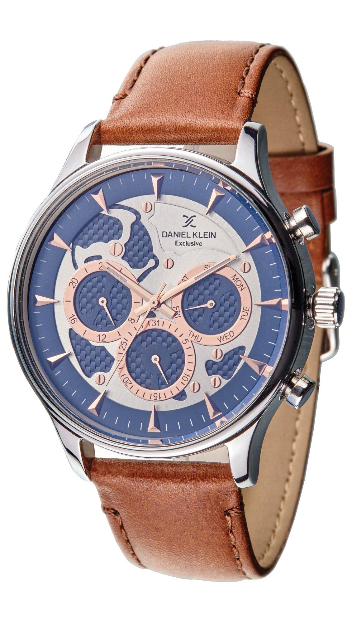 Ρολόι Daniel Klein Exclusive πολλαπλών ενδείξεων με καφέ λουράκι DK11420-2 f6aca26dfb5