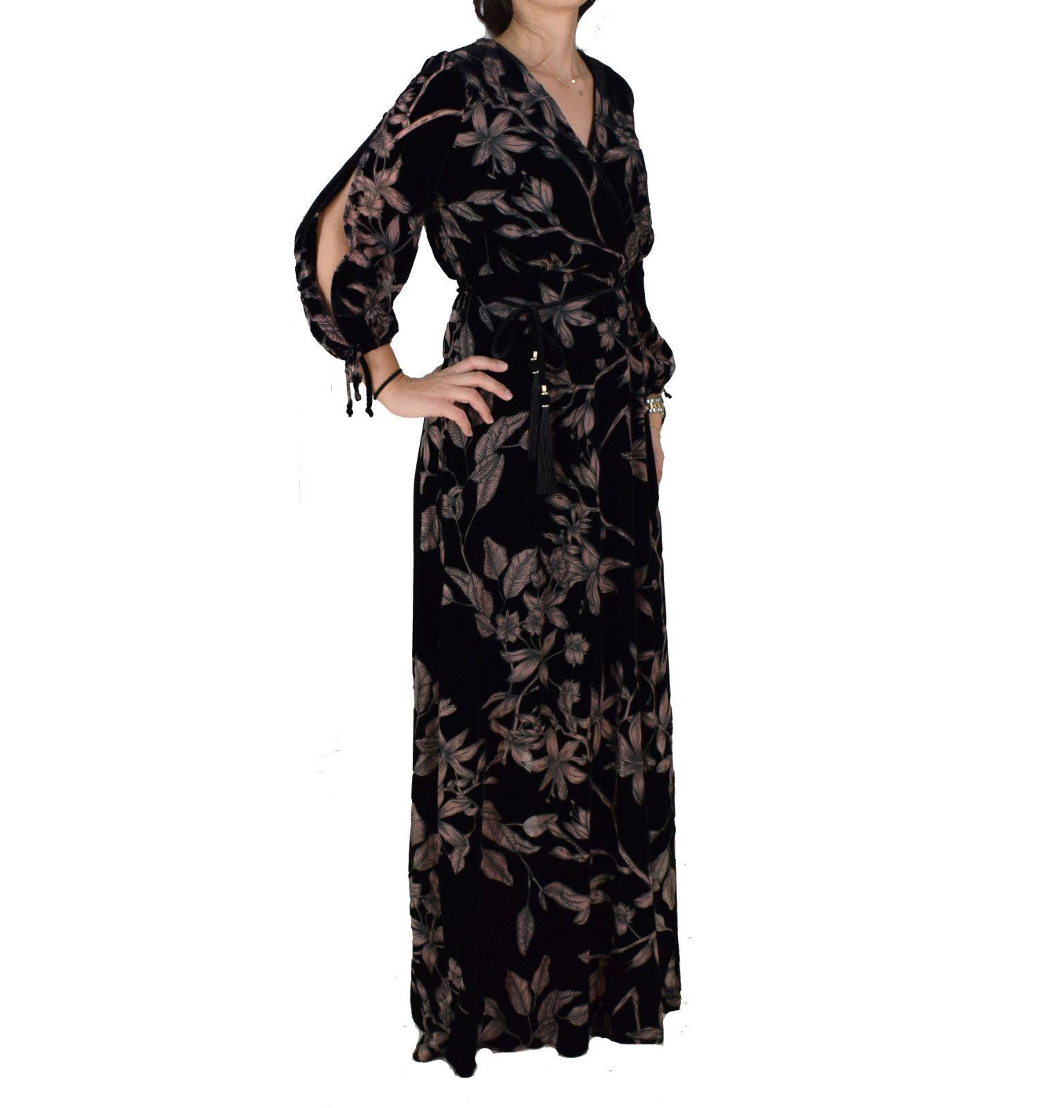 50cae82077c Βελούδινο Maxi Φόρεμα Forel 555008 Μαύρο Φλοράλ forel 555008 mayro ...
