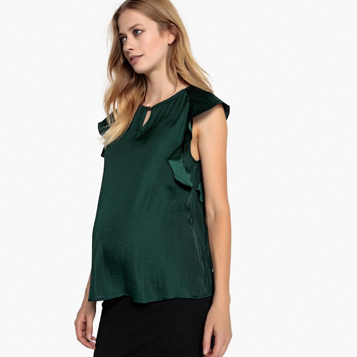 04dba6018782 LA REDOUTE COLLECTIONS Μπλούζα εγκυμοσύνης με βολάν στα μανίκαι ...