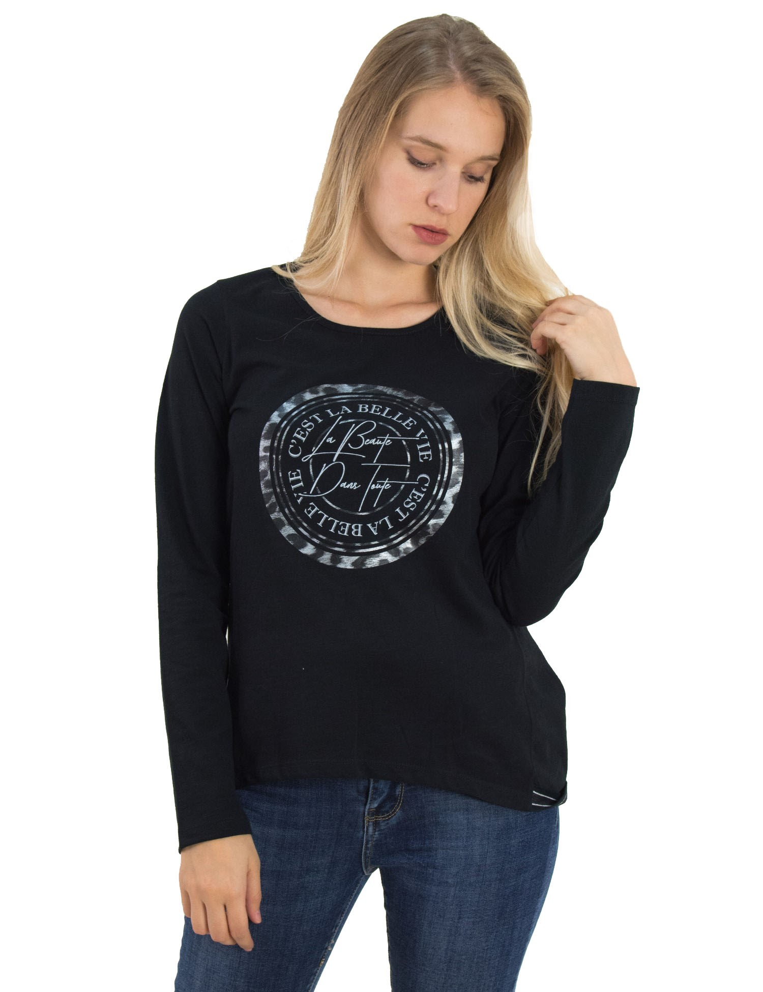 dd405a50ff8f Γυναικεία μαύρη βαμβακερή μπλούζα Lipsy τύπωμα 21800020G - Glami.gr