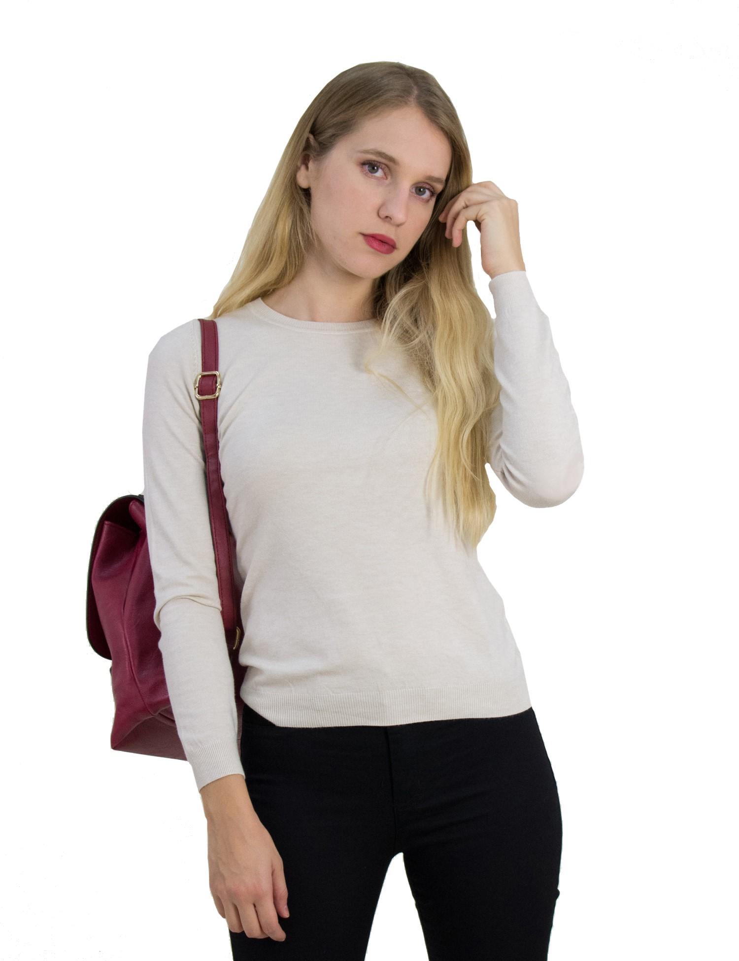 d64d1ec741ff Huxley   Grace Γυναικείο μπεζ πουλόβερ με μαλακό ύφασμα MX3001D ...