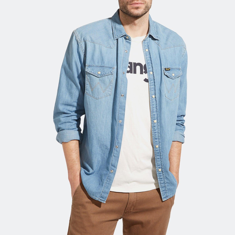 971b2e25ef44 Wrangler Western Denim Shirt Light Indigo