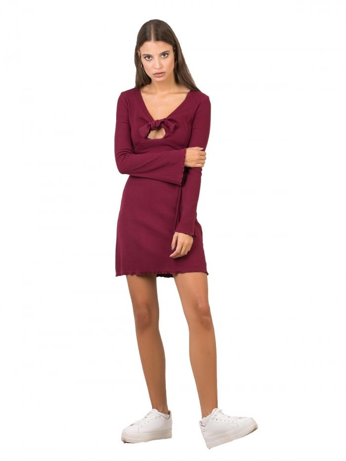 92b6df367923 DeCoro F10940 Φόρεμα ριπ με δέσιμο στο μπούστο και καμπάνα μανίκι ...