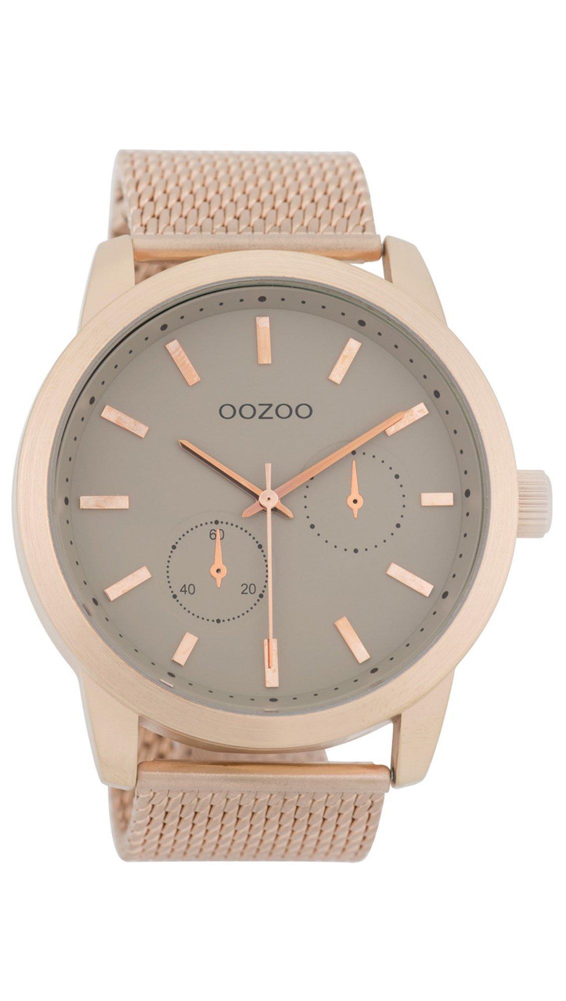 Ρολόι OOZOO Timepieces με ροζ χρυσό μπρασελέ και γκρι καντράν C9662 ... b2ca0fd9887