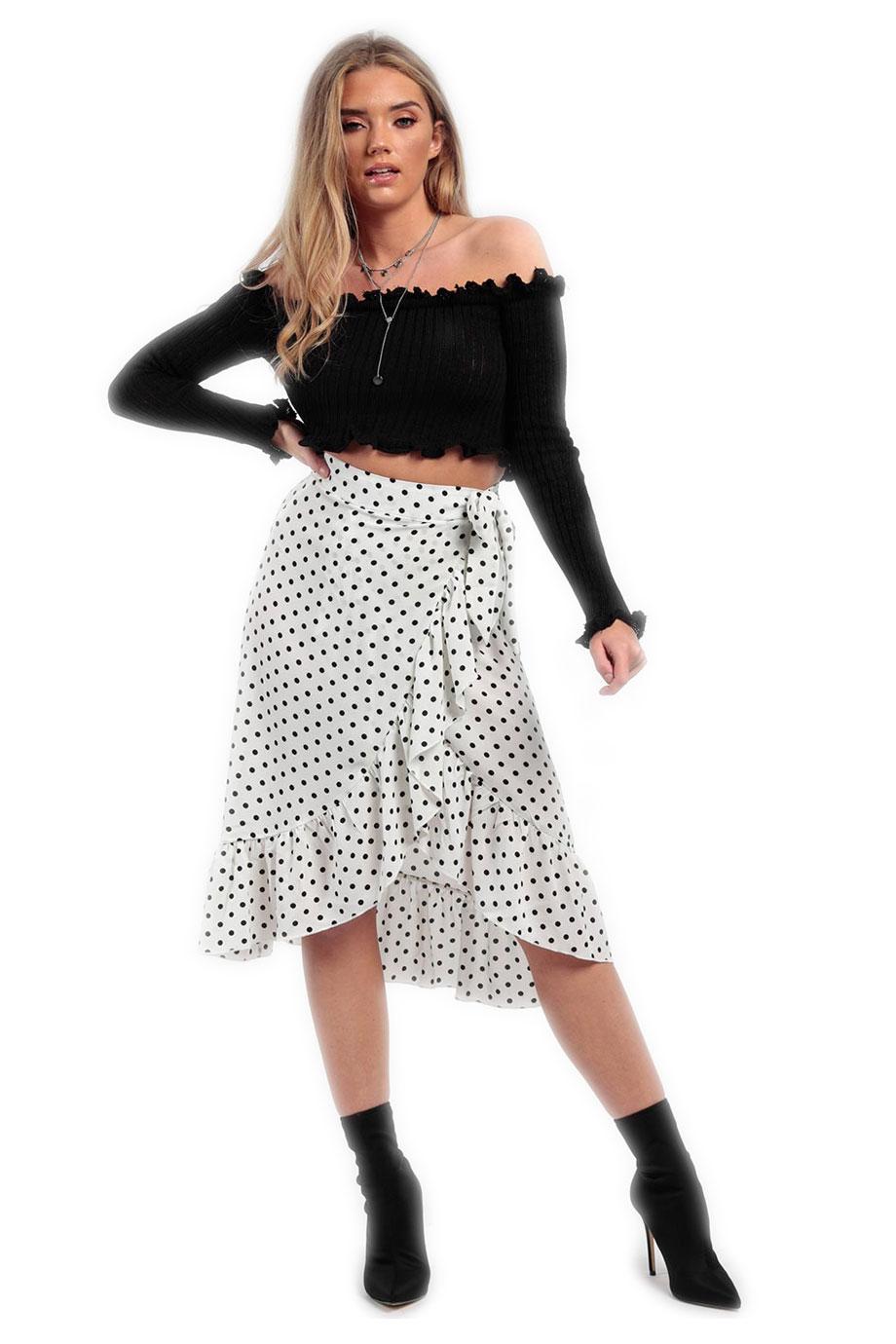 9aab43fa38b LIKEASTAR Λευκή πουά μίντι φούστα με βολάν
