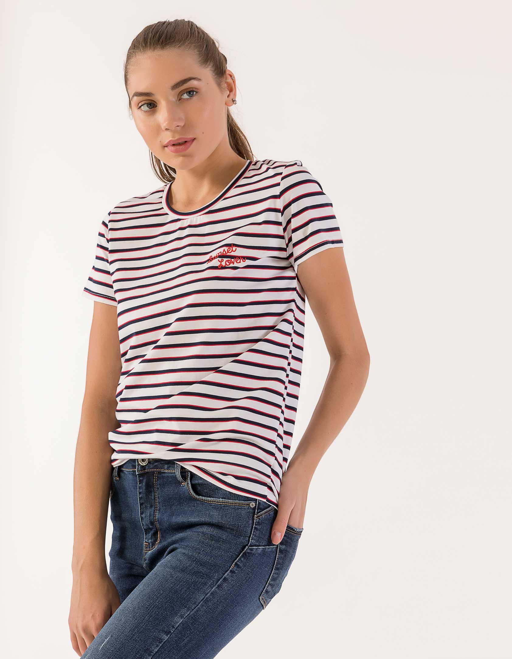 2d1c7aa7e44a Issue Fashion Ριγέ t-shirt με μήνυμα - Glami.gr