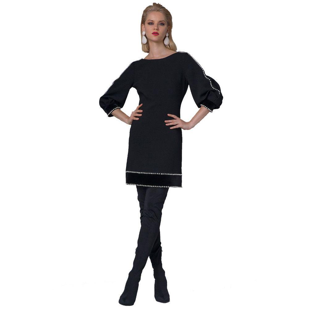 ef56e86bd50d Φόρεμα Με Πέρλες Forel 555143 Μαύρο forel 555143 mayro - Glami.gr