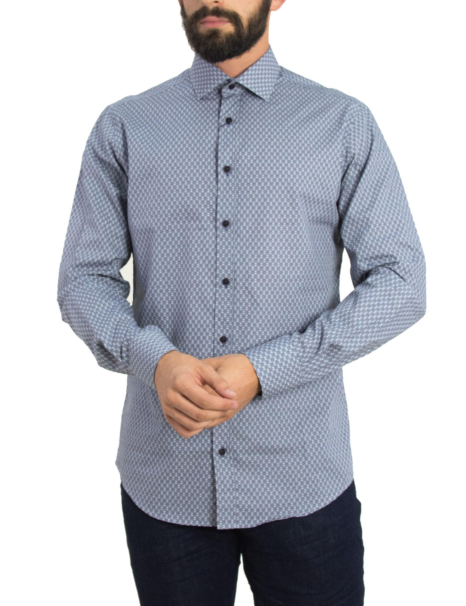 2f6866d912fd Gio.S Ανδρικό λευκό πουκάμισο με μικροσχέδιο GioS 9507W18 - Glami.gr
