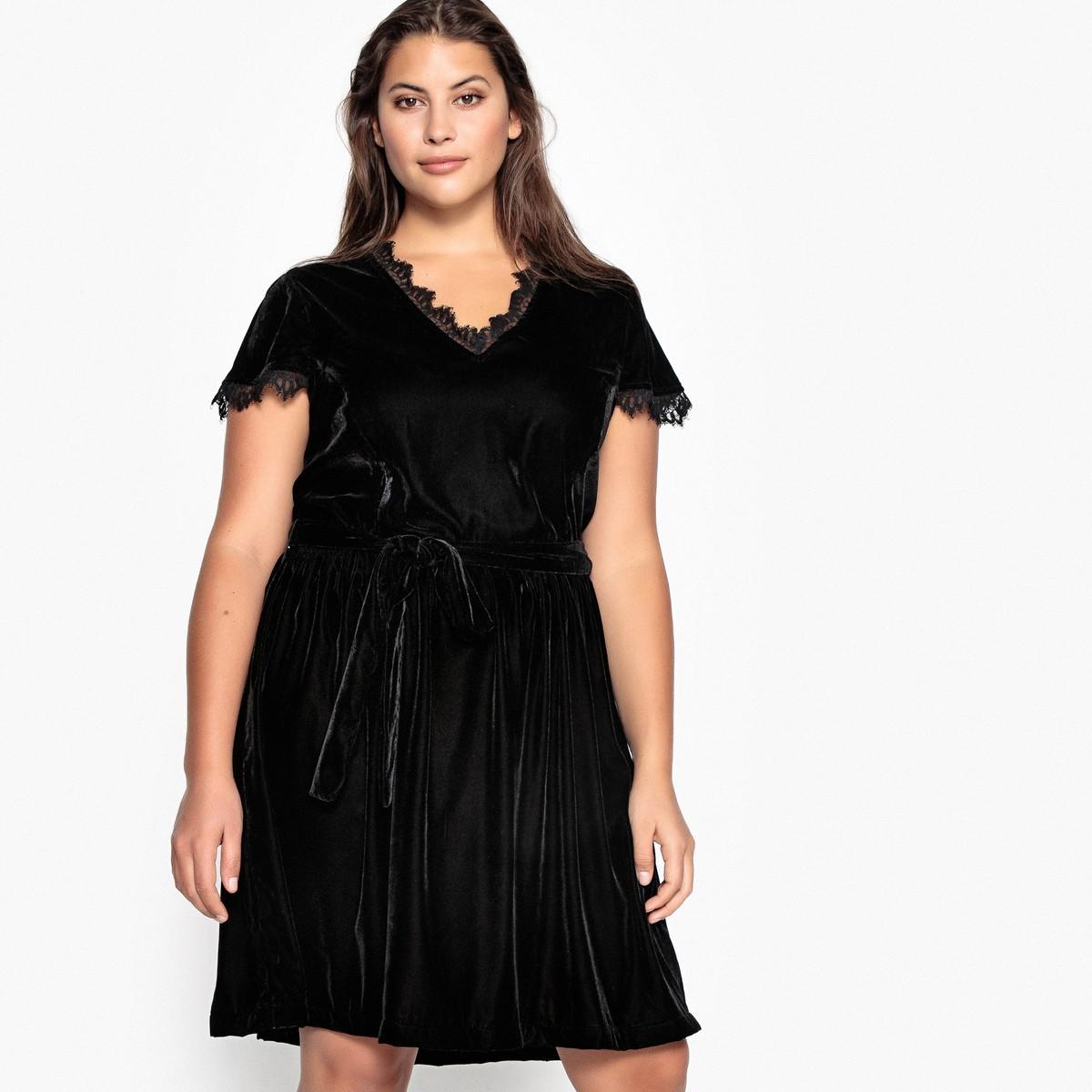 f1d0ab48a4a4 CASTALUNA Βελούδινο φόρεμα με δαντέλα - Glami.gr