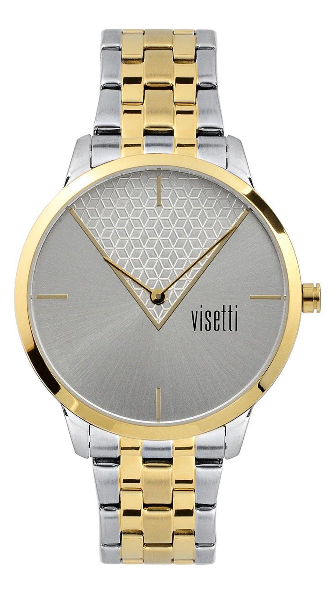 Ρολόι Visetti La Vedette με δίχρωμο μπρασελέ και γκρι καντράν PE-491SGI 0c002a34341