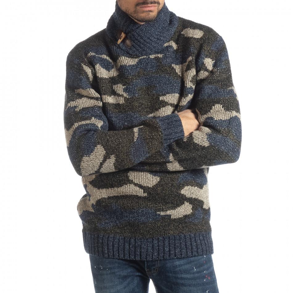 f4104858324c X-Feel Ανδρικό μπλε πουλόβερ παραλλαγής με γιακά - Glami.gr