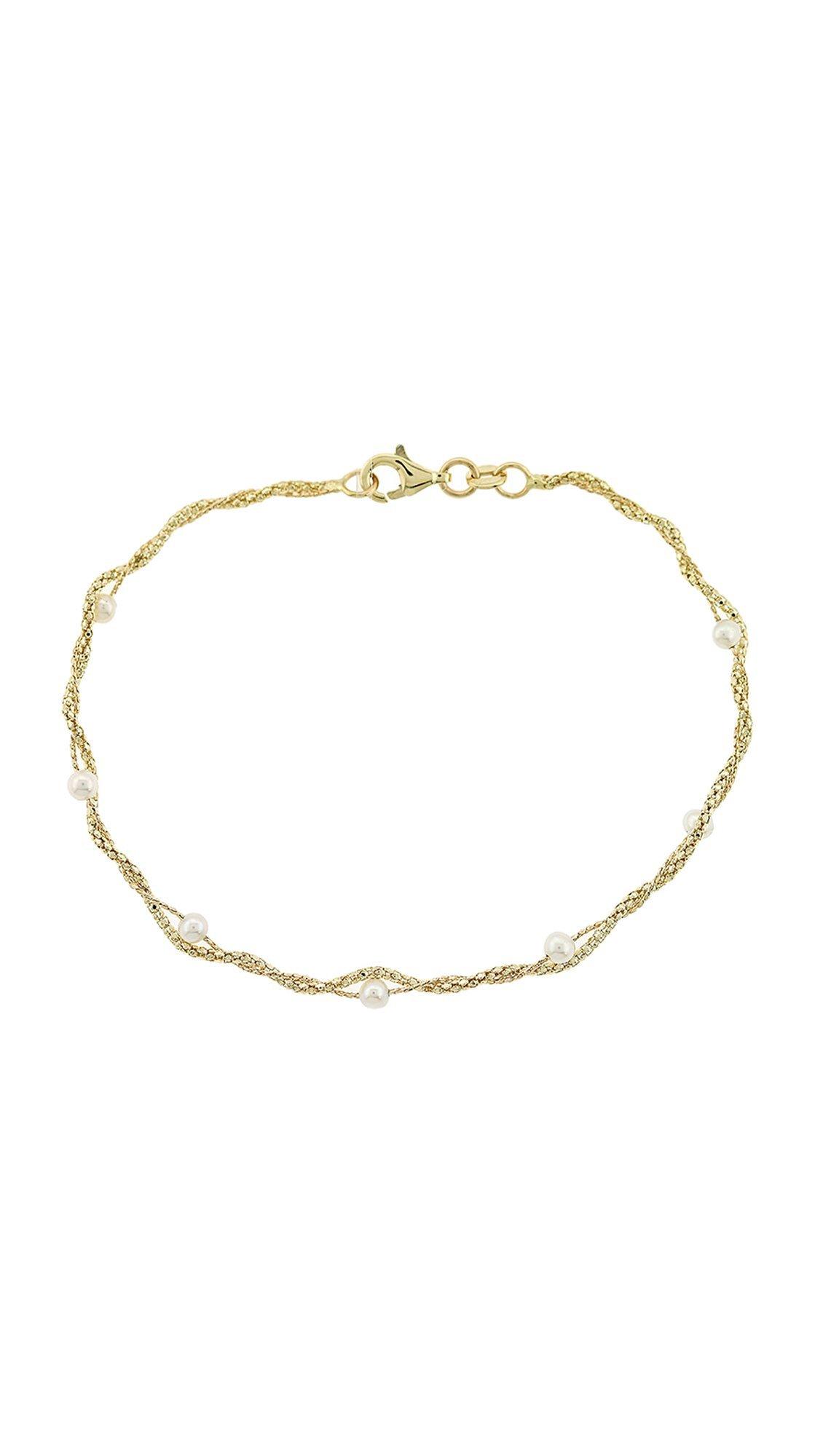 Mertzios.gr Βραχιόλι χρυσό 14 καράτια με μαργαριτάρια - Glami.gr c9b882542a4
