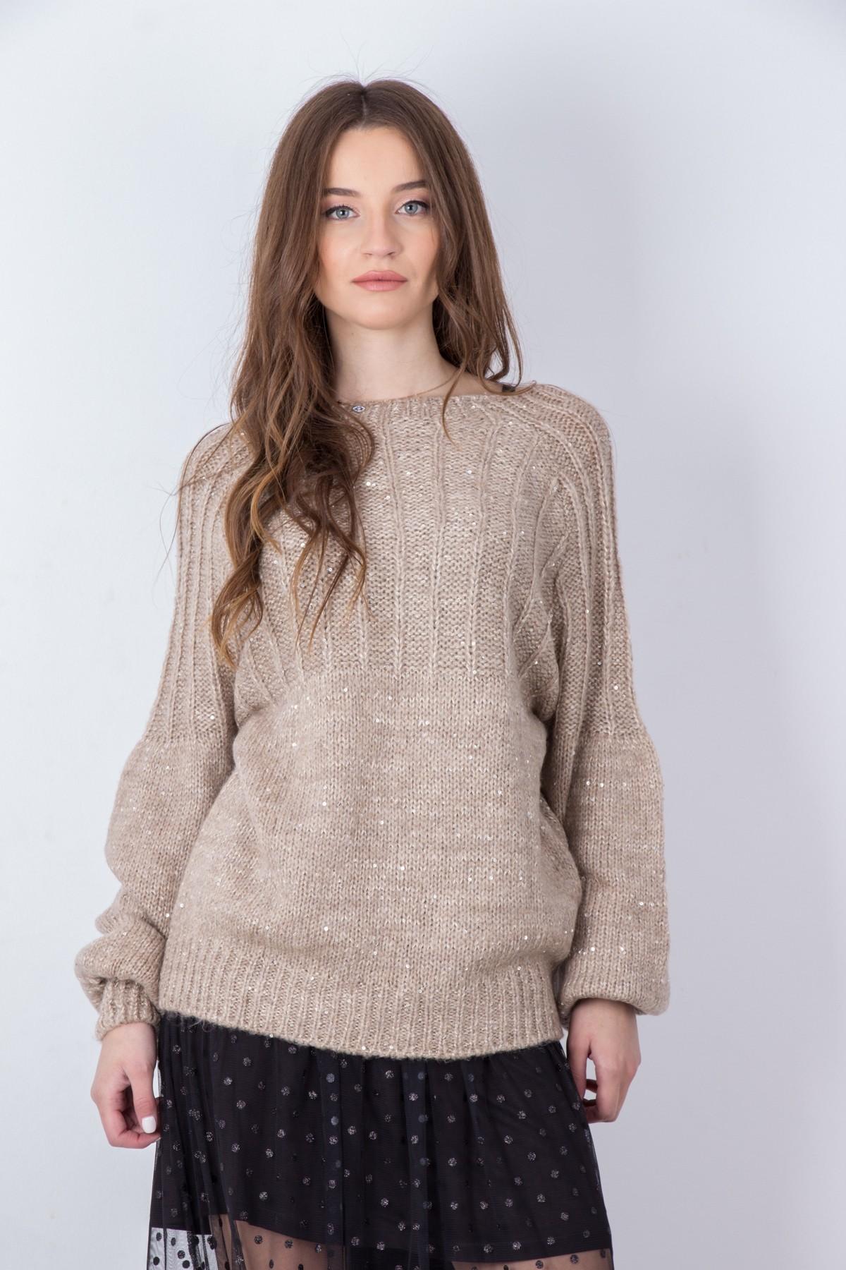972e61f778eb ... Γυναικεία μπλούζα πλεκτή με παγιέτες ΚΑΦΕ. -51%. OEM ...