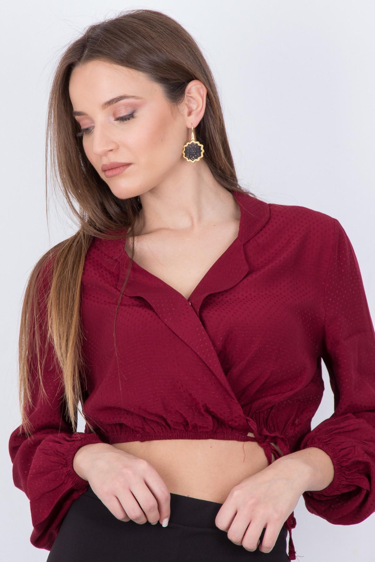 cc6aade384c7 ONAGE Γυναικεία μπλούζα κρουαζέ με σούρες ΜΠΟΡΝΤΩ - Glami.gr