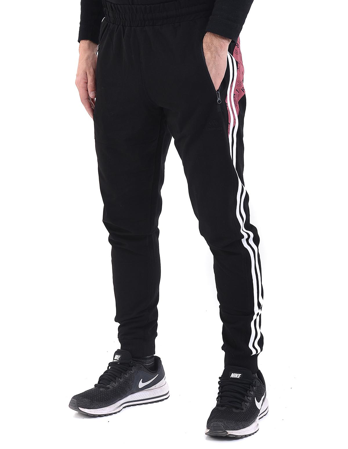 24a0005bd27 Vactive TLife Ανδρικό παντελόνι φόρμας jogger με λάστιχο στο πόδι σε μαύρο  χρώμα και λευκή ρίγα