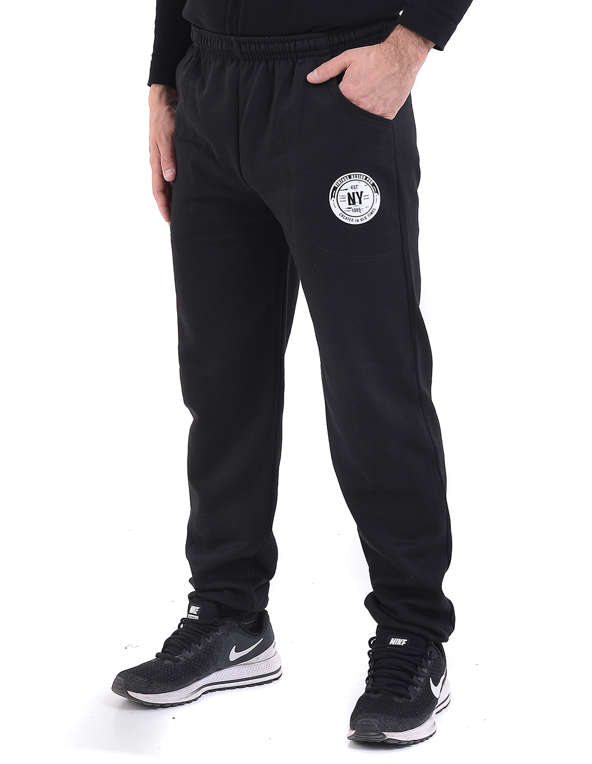 71b62b7a759 Vactive Ανδρικό παντελόνι φόρμας με λάστιχο στο πόδι σε μαύρο χρώμα ...