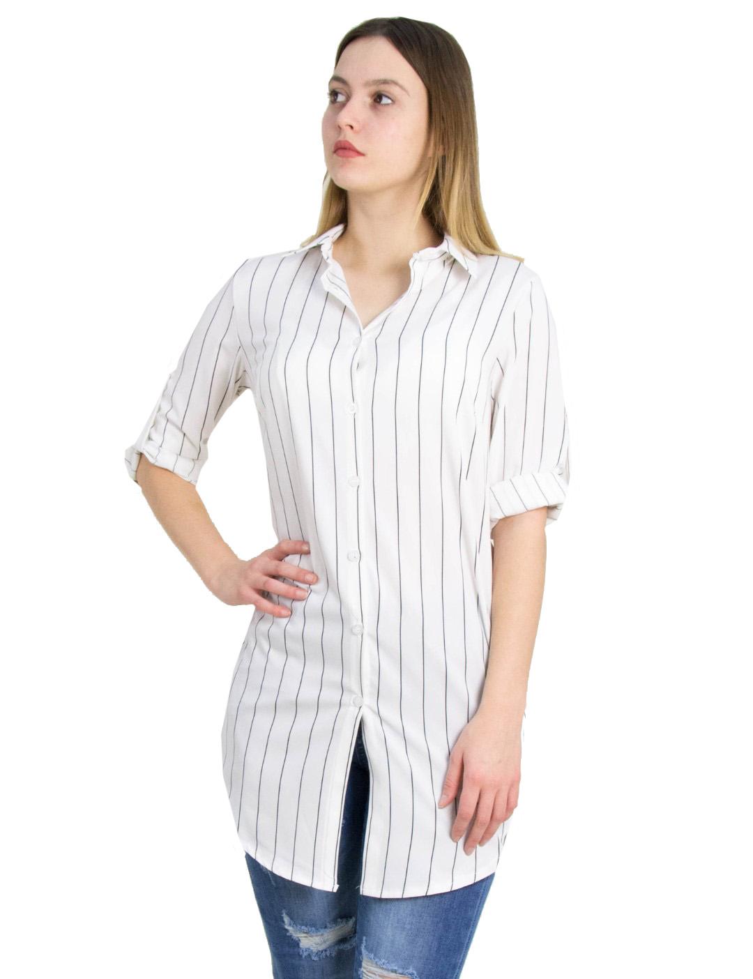 d818011fd559 Γυναικεία λευκή ριγέ πουκαμίσα So Sexy 21027F - Glami.gr
