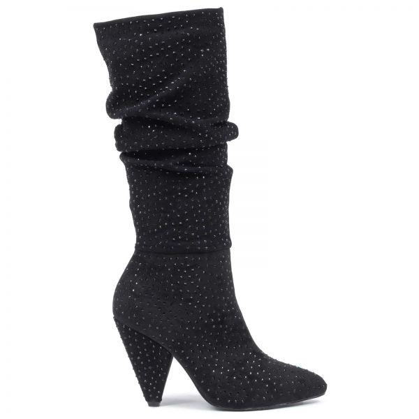 00789ae0d24 MIGATO Μαύρη μπότα πάνω από το γόνατο με στρας - Glami.gr