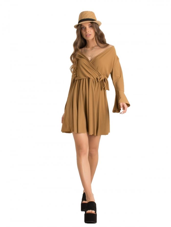 dc5ef9837d0b DeCoro F7336 Φόρεμα Κρουαζέ με Βολάν - ΚΑΦΕ - 10 - Glami.gr