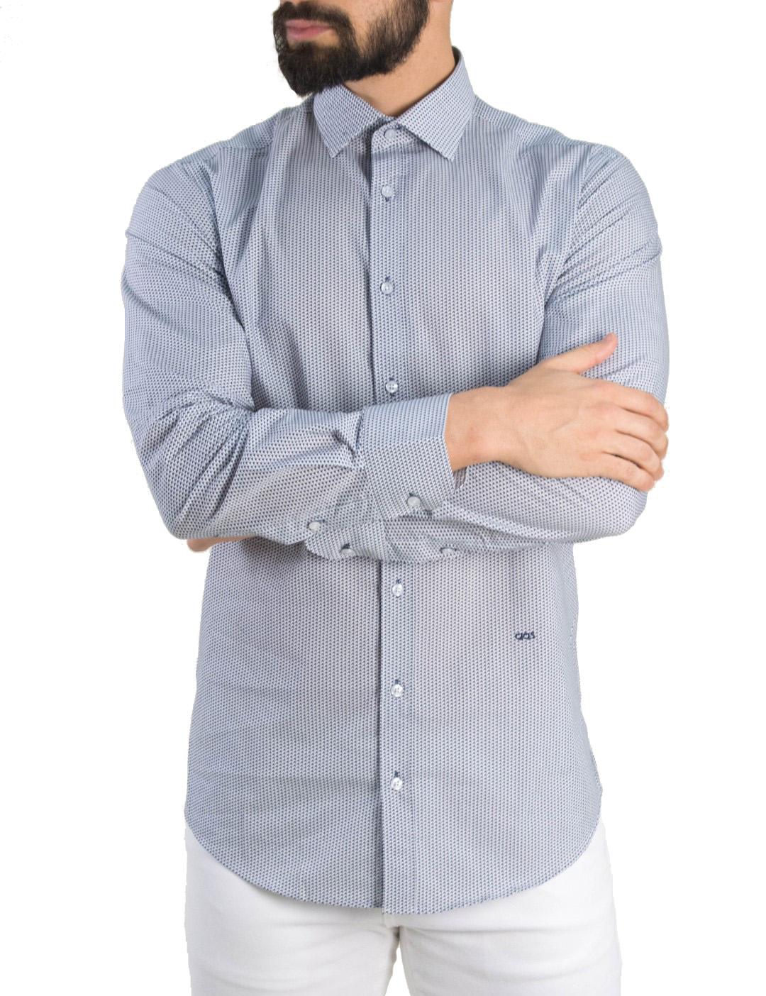 6216751c110e Gio.S Ανδρικό λευκό πουκάμισο μικροσχέδιο GioS 9081S19 - Glami.gr