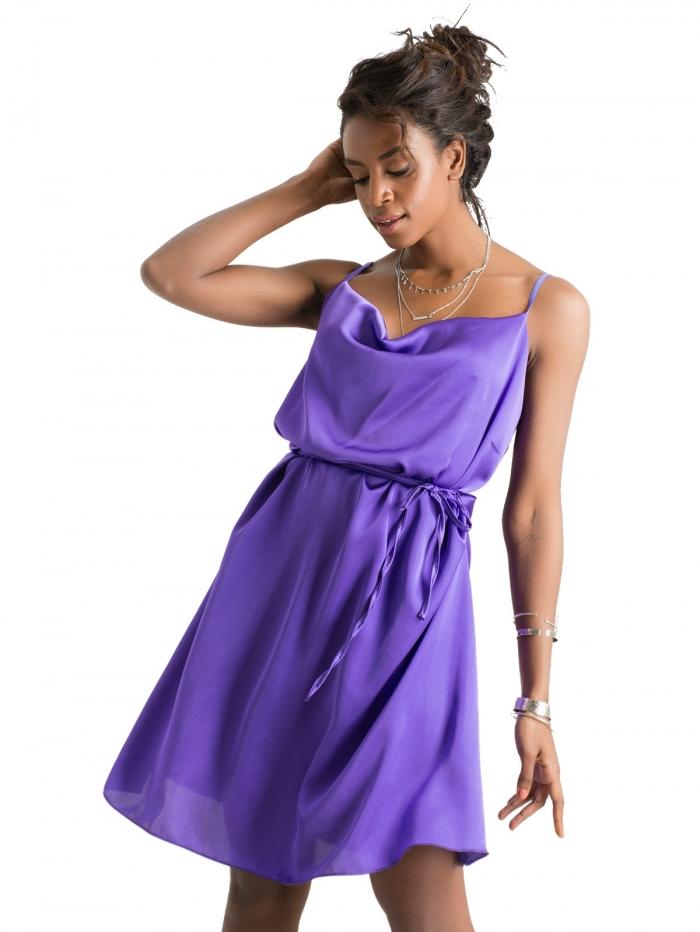 04cd15de3321 DeCoro F34803 Φόρεμα Satin με Ζωνάκι - ΜΩΒ - 10 - Glami.gr