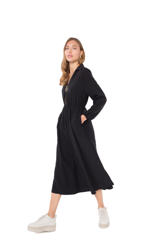 3d7a9e6b8987 ... Μίντι φόρεμα με φερμουάρ και γιακά. -50%. ΟΕΜ ...