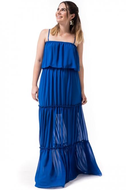 f3dfb8e514ea Petit Boutik Μπλε Μακρύ Φόρεμα με Βολάν - Glami.gr