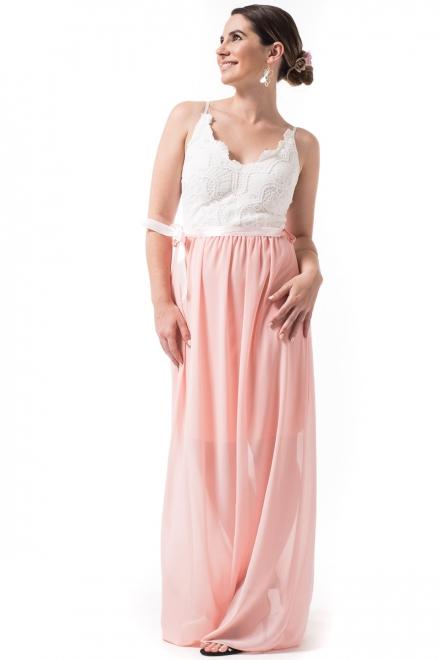 be73dba174f6 OEM Maxi Φόρεμα με Δαντέλα Άσπρο Ροζ - Glami.gr