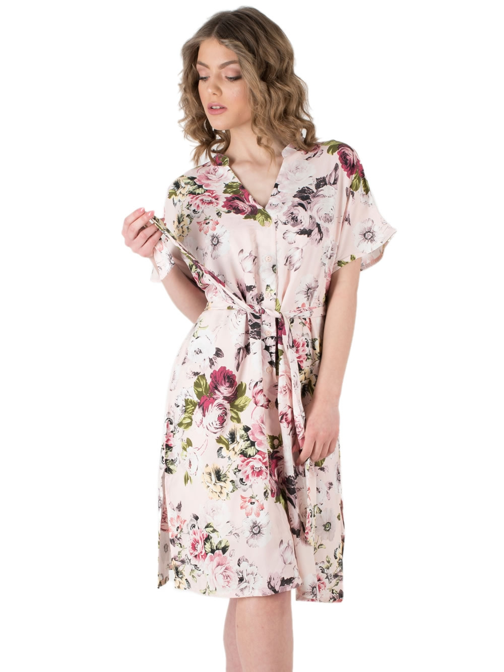 5466a9d1738 Ρόμπα HARMONY - Αέρινο Ύφασμα Σατέν Viscose - Floral Σχέδιο & Κουμπιά -  Καλοκαίρι 2019